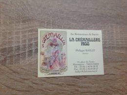 Carte De Visite De Restaurant  La Cremaillere 1900   Paris 18eme - Cartoncini Da Visita