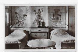 (RECTO / VERSO) PAQUEROT NORMANDIE EN 1937 - N° 1 - CABINE DE LUXE LE HAVRE - BELLE FLAMME - CPA AVEC GLACAGE - 76 - Paquebots
