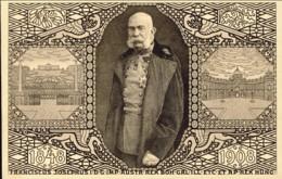 1908-Austria Cartolina Ufficiale Giubileo Imperatore Francesco Giuseppe Annullo Rosso Di Praga E Di Friedland In Boemia - Austria