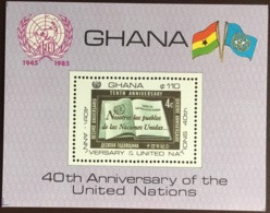 Ghana 1985 United Nations Minisheet MNH - Ghana (1957-...)