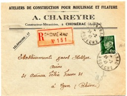 ARDENNES - Dépt N° 08 = CHOMERAC  1943 = Recommandé + CACHET MANUEL A4 + CHARREYRE Ateliers MOULINAGE + FILATURE - Postmark Collection (Covers)
