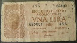 ANCIENT  BANKNOTES OF 1 LIRA......///  ANTICA BANCONOTA DA 1 LIRA - [ 1] …-1946 : Koninkrijk