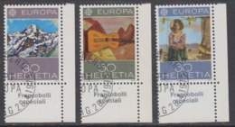 Europa Cept 1975 Switzerland 3v (corner) Used Cto - Stamps With Full Gum  (44857B) - Europa-CEPT