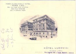 """1930circa-Italia Cartolina Con Diciture In Inglese Non """"hotel Ludovisi Roma"""" - Roma"""