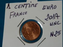 1 CENTIME EURO FRANCE 2017 Unc  (  Livrée Sous étui H B - 2 Photos  ) - France