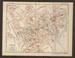 CARTE PLAN 1928 - TROYES TRAMWAYS THEATRE GARE HOTEL VAULUISANT CAISSE D'ÉPARGNE - Cartes Topographiques