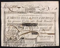 Stato Pontificio Cedola Da 43 Scudi Sacro Monte Della Pietà Di Roma  01 02 1792 Naturale Lotto.2893 - [ 9] Collezioni