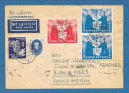 1951 HALLE TO ARGENTINA DEUTSCHE DEMOKRATISCHE REPUBLIK DDR - [6] Repubblica Democratica