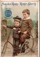 CHROMO AMIDON REMY REMY STARCH  LE TRICYCLE  CALENDRIER SEMESTRIEL 1891-1892 - Cromos