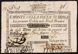 Stato Pontificio Cedola Da 70 Scudi Sacro Monte Della Pietà Di Roma  01 05 1797 Spl/sup Naturale Lotto.2894 - [ 9] Collezioni