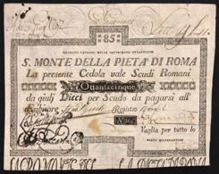 Stato Pontificio Cedola Da 85 Scudi Sacro Monte Della Pietà Di Roma  15 01 1788 Bel Bb+ Naturale Lotto.2895 - Italia
