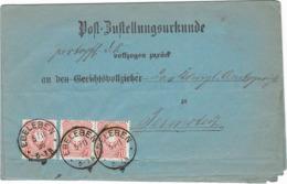 DR Brief MeF Krone/Adler Mi.41 Post Zustellungsurkunde Ebeleben 1886 - Lettres & Documents