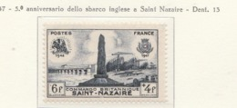 PIA - FRAN : 1947 : 5° Anniversario Dello Sbarco Inglese A Saint Nazaire - (Yv 786) - France