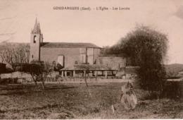 Cpa 30 GOUDARGUES L'église  Les Lavoirs , Dos Vierge , TBE - Other Municipalities