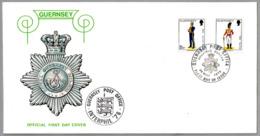UNIFORMES MILITARES - UNIFORMS OF THE GUERNSEY MILITIA. Emision 20-Mayo-1976. SPD/FDC Guernsey 1976 - Militares