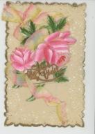 """FLEURS - Jolie Carte Fantaisie CELLULOID Avec Ajoutis Fleurs Roses Et Ruban """"SAINTE CECILE """" - Vornamen"""