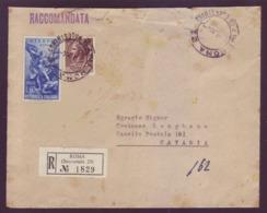 Italia 1954 - Storia Postale. Raccomandata Con Interpol 60L E Siracusana 20L - 6. 1946-.. Repubblica