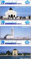 3 TC Telecard Holo Maroc Morocco Mausolée Mohammed V Rabat, Mosquée Hassan II, Menara Marrakech - Maroc