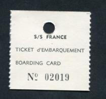 Ticket D'Embarquement (Boarding Card) Du Paquebot France (port Du Havre) Compagnie Générale Transatlantique - Années 60 - Europa