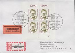 Elisabeth Selbert Politikerin, Alle 4 Ecken, R-FDC+ Rückschein ESSt Bonn 6.11.87 - BRD