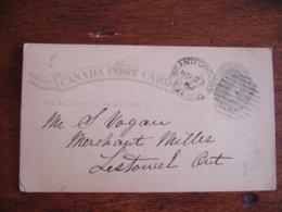 1882 Canada Grantforont  Stationery Card Entier Postal - 1851-1902 Regno Di Victoria