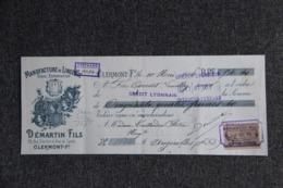 Lettre De Change : CLERMONT FERRAND, DEMARTIN Fils, Manufacture De Lingerie. - Lettres De Change