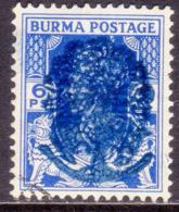JAPANESE OCCUPATION OF BURMA 1942 SG #J27 6p Used CV £55 Blue Opt - Birma (...-1947)