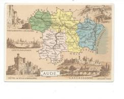 Chromo AUDE CARCASSONNE NARBONNE CASTELNAUDARY Département Carte Géographique Sans Pub.TB Voir 2 Scans - Trade Cards