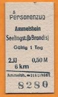 BRD - Pappfahrkarte (Deutsche Reichsbahn) --- Ammelshain - Seelingst. (Personenzug) - Bahn