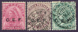 British India China Expeditionary Forces Queen Victoria C.E.F. Mi:IN FC1-2-3, Sg:IN C1-2-3 1900 Used - Indien (...-1947)