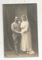 Cp ,carte Photo , Vierge, Militaria , écrite 1917, Militaire ,médaille ,mariée ,mariage - Personen