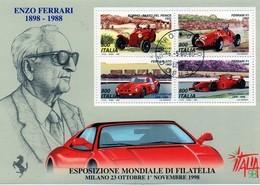 """PIA ITA-1997:Esposizione Mondiale Di Filatelia """"Italia  98"""" - Giornata Della Ferrari - Foglietto  -     (SAS  Bf 20 ) - Automobili"""