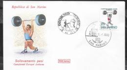 SAN MARINO - 1980 - CAMPIONATI EUROPEI JUNIORES PESISTICA - 18.09.1980 SU BUSTA F.D.C.ROMA NON VIAGGIATA - Francobolli