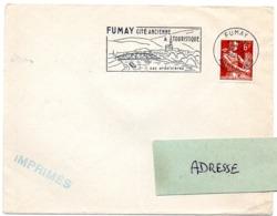 ARDENNES - Dépt N° 08 = FUMAY 1958 = FLAMME SECAP  Illustrée + PONT ' Cité Ancienne & Touristique / Ardoisières ' - Oblitérations Mécaniques (flammes)