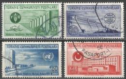 Turkey 1952 - Mi. 1305A-1308A O, UN Mediterranean Economic Instruction Center (F.A.O.) - Gebruikt