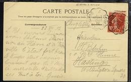 LE HAVRE A ROUEN 22 OUT 12 Auf AK Nach England, Kte Min. Eckbug - Stamps