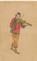 Stamp Made Card With Chinese And Various Stamps . Violin Player . Swatow Hong Kong - Cina (Hong Kong)