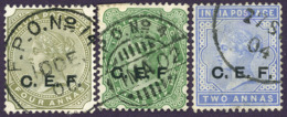 British India China Expeditionary Forces Queen Victoria C.E.F. Mi:IN FC4-5-7, Sg:IN C4-5-7 1900 Used - Indien (...-1947)