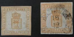 1856 Grössere Wappenzeichnung Mi. 2a + 2b Beide BPP Geprüft - Mecklenburg-Schwerin