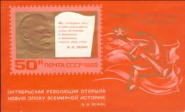 """1969-(MNH=**) Russia Foglietto 1v.""""Anniversario Rivoluzione D'ottobre,Lenin""""catalogo Euro 4,25 - 1923-1991 USSR"""