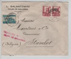 PR7318/ Spain Cover Galantomini Palma De Mallorca 1938 Censura Militar Palma De Mallorca > Stavelot Belgium - 1931-Aujourd'hui: II. République - ....Juan Carlos I