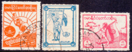 JAPANESE OCCUPATION OF BURMA 1943 SG #J85-87 Compl.set Used Rouletted - Birmanie (...-1947)