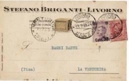 16798 01 LIVORNO BRIGANTI SAPONI X LA VENTURINA PISA - Marcofilie