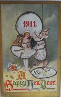 """""""Neujahr, Harlekin, Jahreszahl"""" 1911, Glitzerprägekarte ♥ (6564) - Anno Nuovo"""