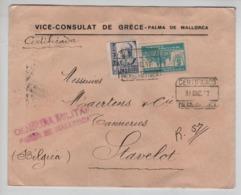 PR7319/ Spain Registered Cover C.Palma Mallorca 1937 Vice Consulat De Grèce Censura Militar Palma Mallorca > Belgium - 1931-Aujourd'hui: II. République - ....Juan Carlos I