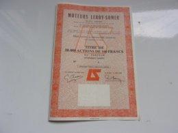MOTEURS LEROY SOMER (titre De 1000 Actions De 100 Francs) Angouleme,charente - Unclassified