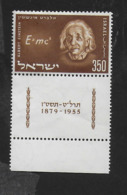 ISRAELE - 1956 - A. EINSTEIN -350p. CON TAB - NUOVO MH* (YVERT 110 - MICHEL 132) - Albert Einstein