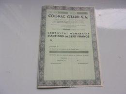 COGNAC OTARD S. A. (chateau De Cognac , Charente) Certificat D'actions De 100 Francs - Actions & Titres