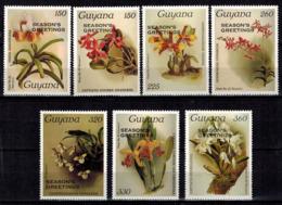 MBP-BK2-644 MINT ¤ GUYANA7w MINT OUT OF SET- MINT - OVERPRINT ¤ FLOWERS OF THE WORLD - ORCHIDEE - FLEURS BLÜMEN - Orchidées