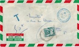 France Lettre Taxée 1953 Cachet Djibouti Bleu TP 50 Francs Seul - Marcophilie (Lettres)